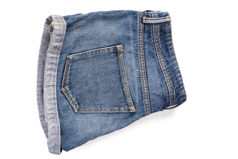 Blue, torn Jeans shorts isolated stock photos