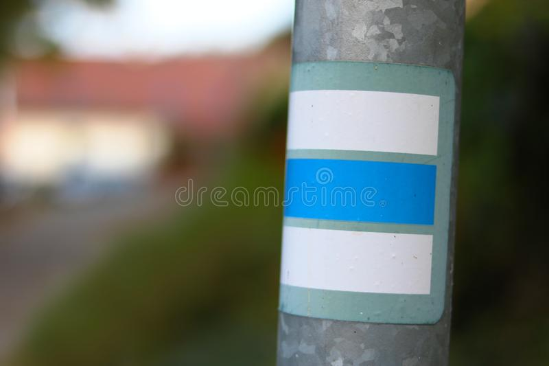 Tourist sign. Blue tourist sign on the pole royalty free stock photo