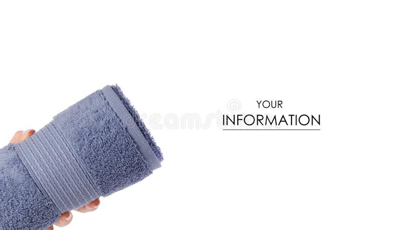 The blue towel roll in hand pattern royalty free stock photo