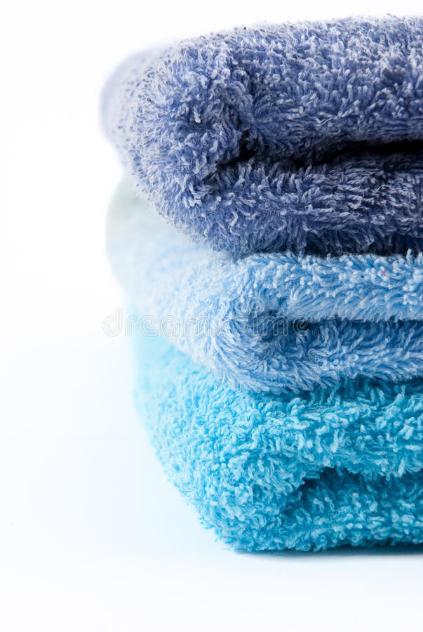 Blue Towels Stacked Royalty Free Stock Photography