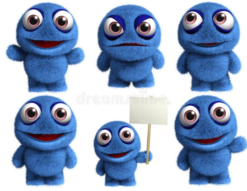 Blue toy. 3d cartoon cute blue toy vector illustration