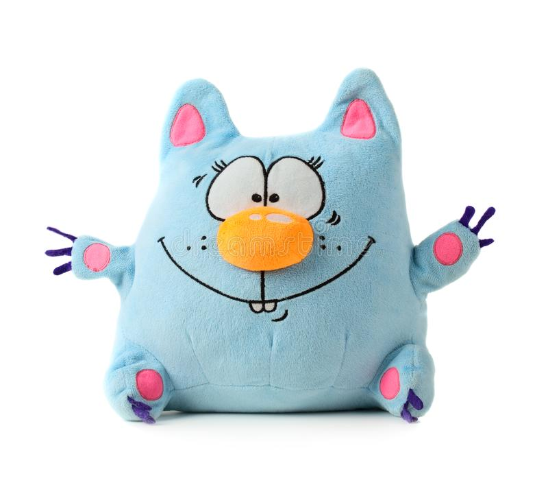 Blue toy cat. Funny blue toy cat isolated on white background stock image