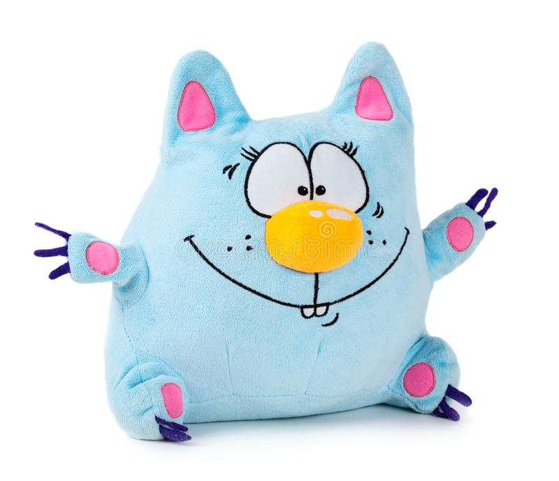Blue toy cat. Funny blue toy cat isolated on white background royalty free stock photography