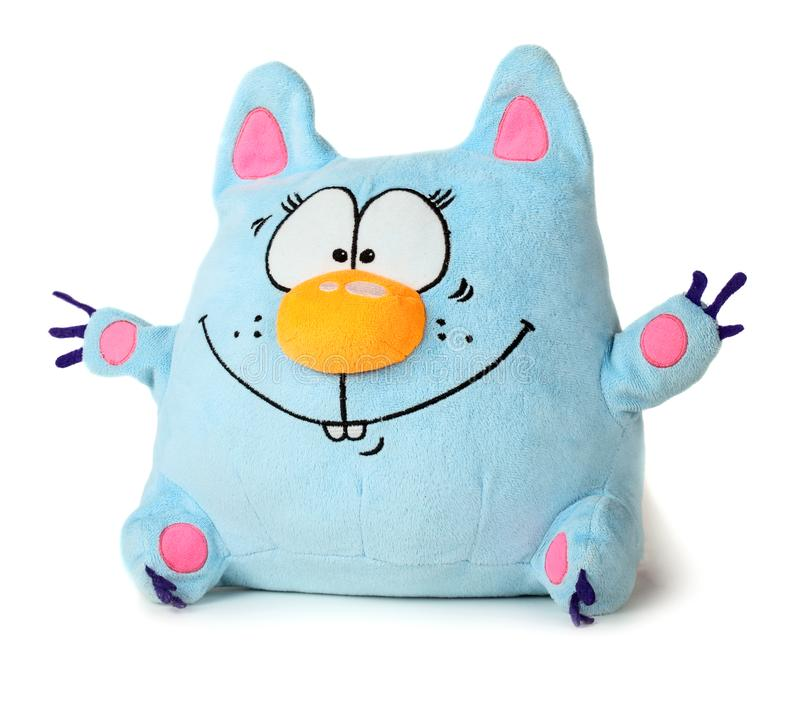 Blue toy cat. Funny blue toy cat isolated on white background stock photography