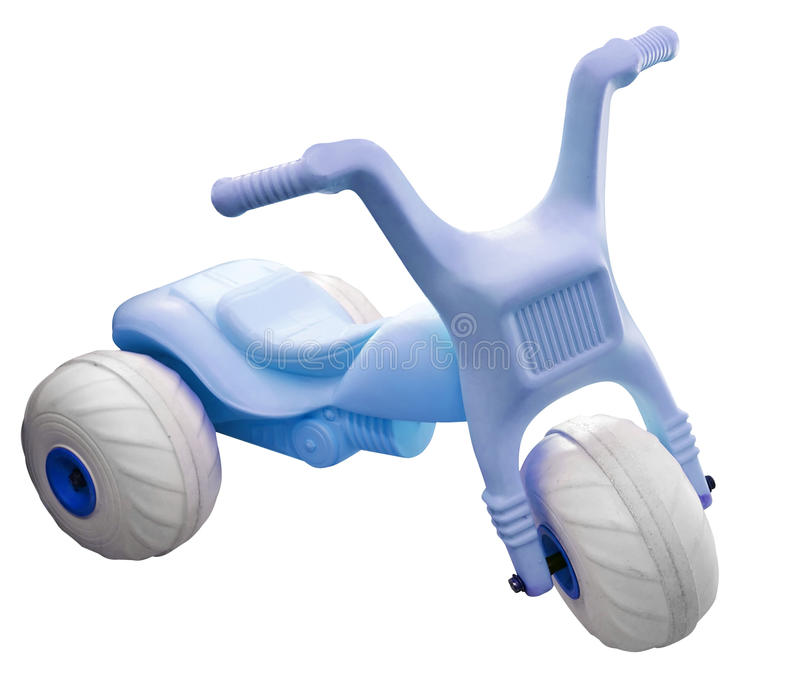 Blue Toy Trike. Isolated with clipping path stock image
