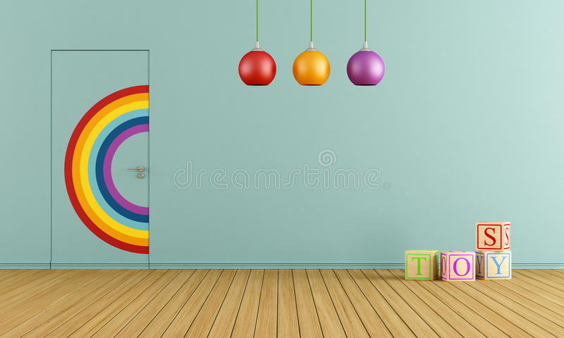 Blue toys room. Colorful doors flush with the wall in a blue toys room