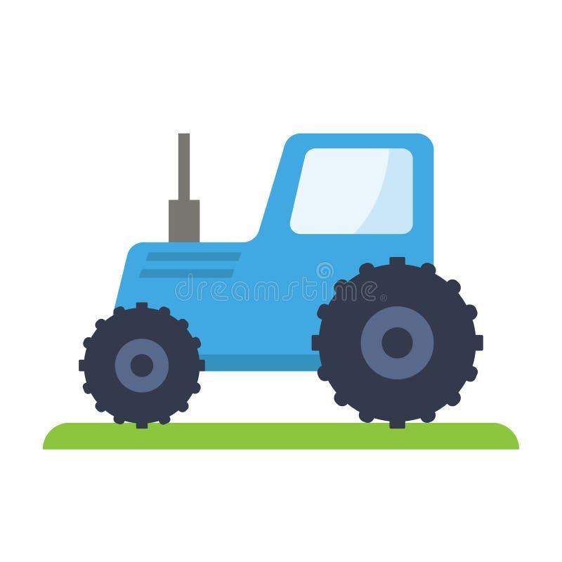 Blue tractor. Flat vector illustration stock illustration