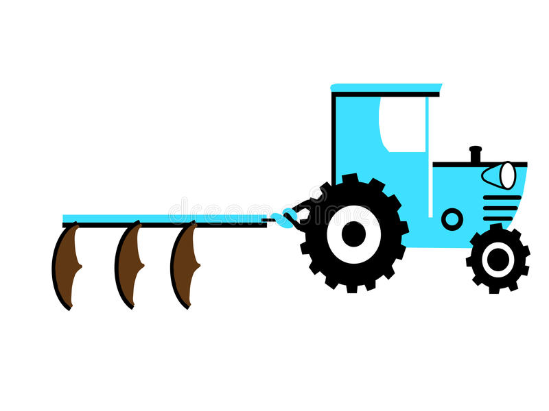 Blue tractor with three ploughs stock illustration