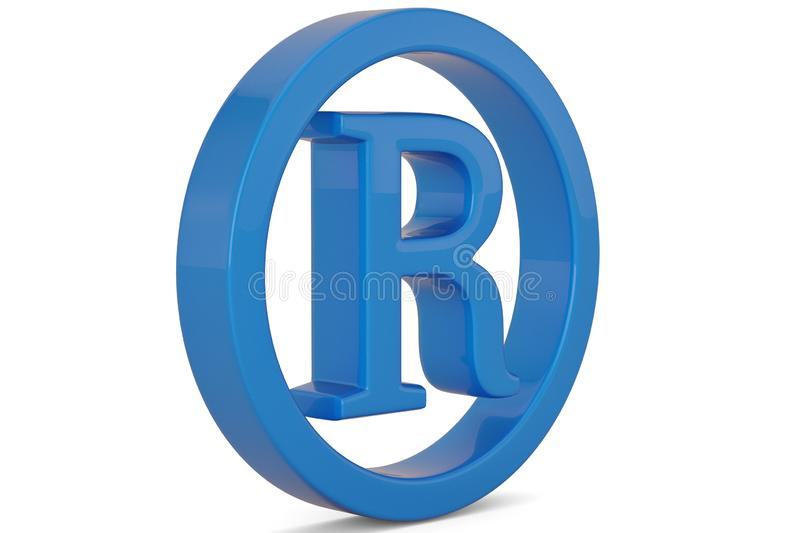 Blue trademark symbol isolated on white background 3D illustration. royalty free illustration