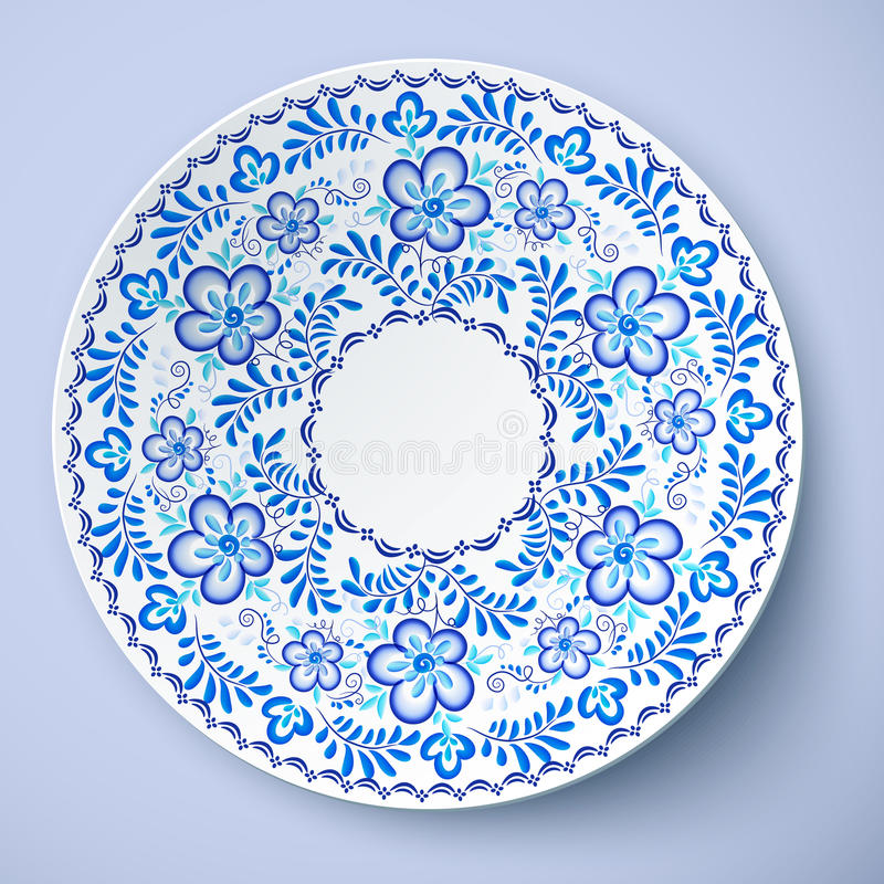 Blue traditional Russian floral ornament in gzhel style vector plate template  sc 1 st  Dreamstime.com & Blue Traditional Russian Floral Ornament In Gzhel Style Vector ...
