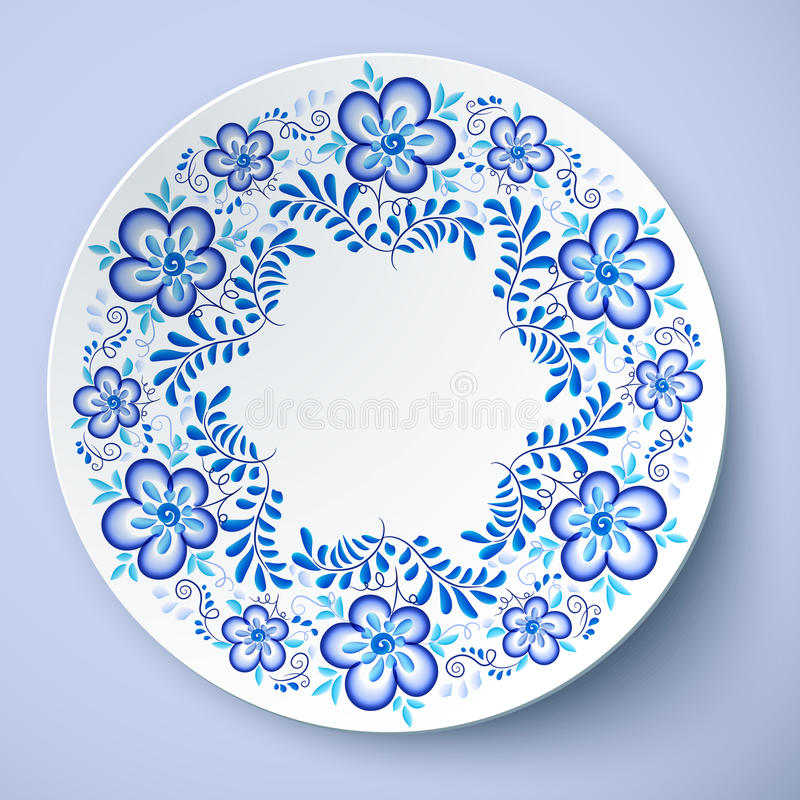 Download Blue Traditional Russian Floral Ornament In Gzhel Style Vector Plate Stock Vector - Illustration  sc 1 st  Dreamstime.com & Blue Traditional Russian Floral Ornament In Gzhel Style Vector ...