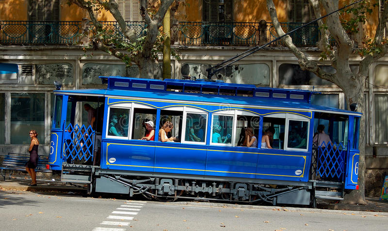 Blue Tram - Barcelona royalty free stock image