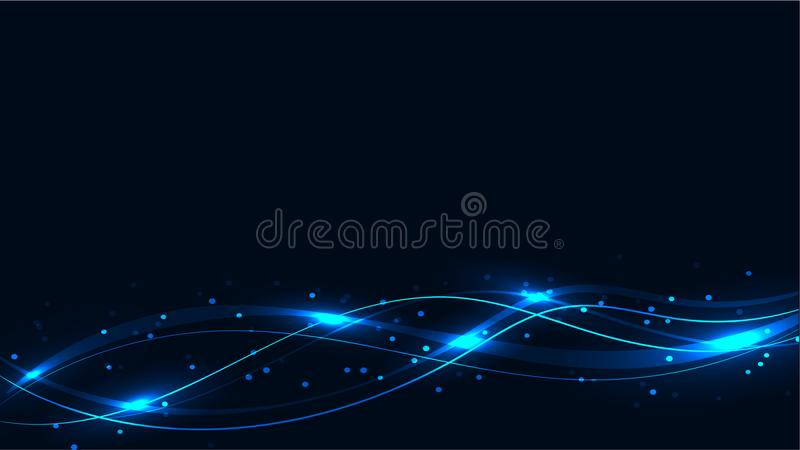 Blue transparent abstract shining magical cosmic magical energy lines, rays with highlights and dots and light shines on waves on stock illustration