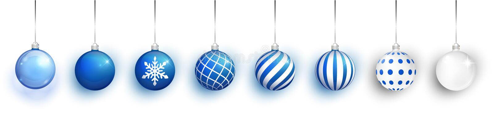 Blue Transparent and Christmas ball with snow effect set. Xmas glass ball on white background. Holiday decoration royalty free illustration