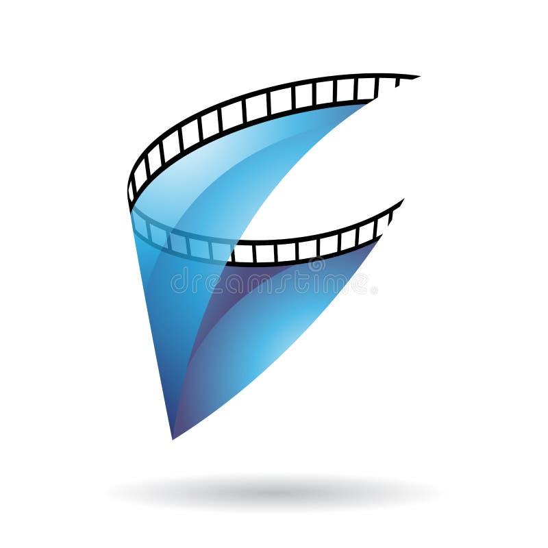 Blue Transparent Film Reel Icon stock illustration