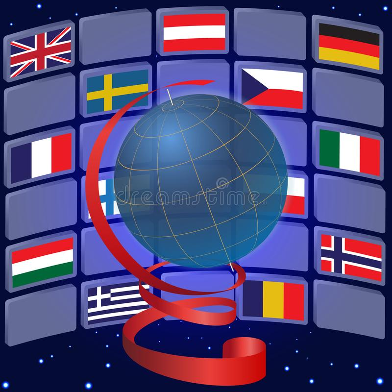 Globe and flags of some European countries vector illustration