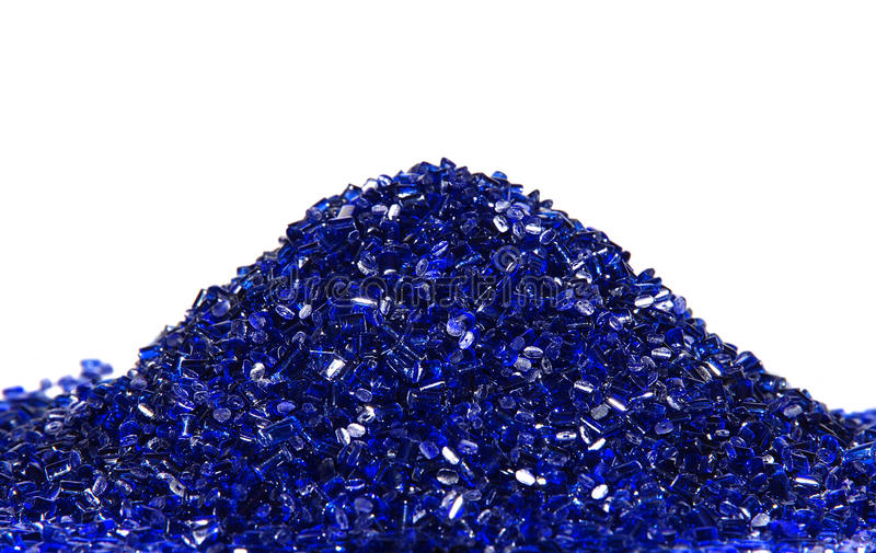Blue transparent plastic resin stock images