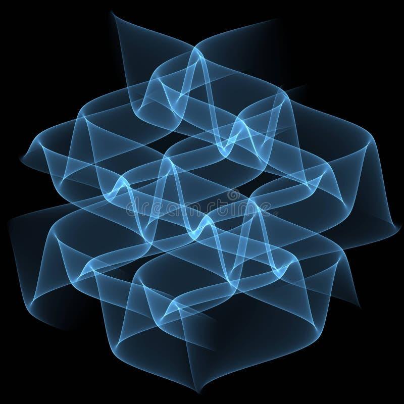 Blue transparent waves on black background. Abstract background illustration. Brochure template design. royalty free illustration
