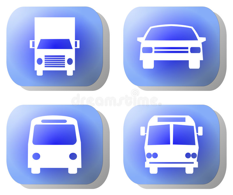 Blue transport buttons stock illustration