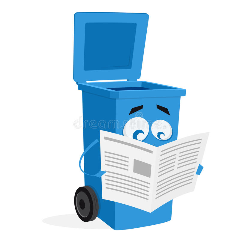 Free Blue Trashcan Reading An Old Newspaper Royalty Free Stock Image - 87521616