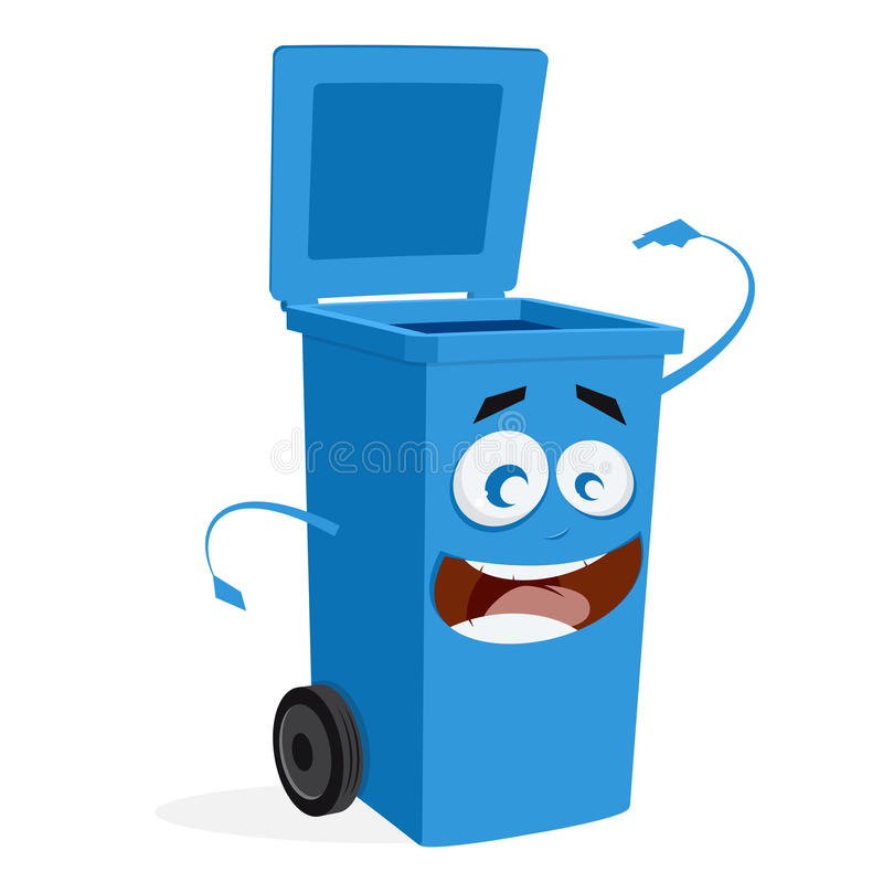 Blue trashcan is ready for rubbish. Clipart of a trashcan which is ready for rubbish royalty free illustration