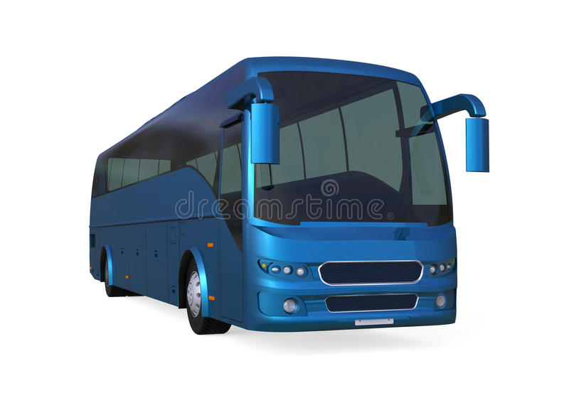 Blue Travel Bus. Isolated on white background. 3D render stock illustration