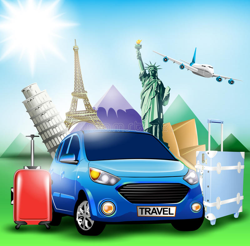 Blue Travel Car together with Plane and World's Famous Landmarks royalty free illustration