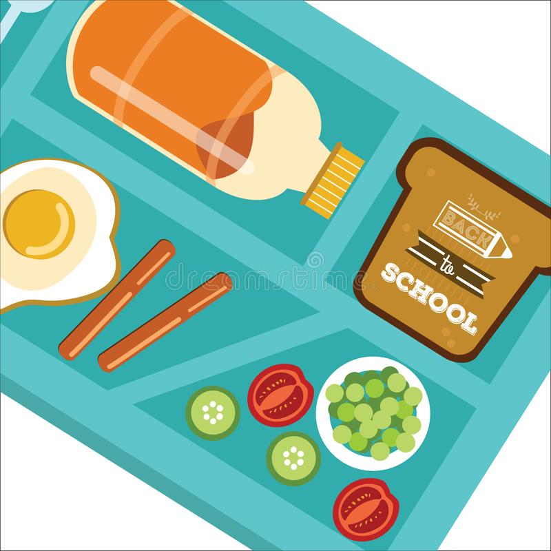 Pupils dinner poster Back to school concept. vector illustration