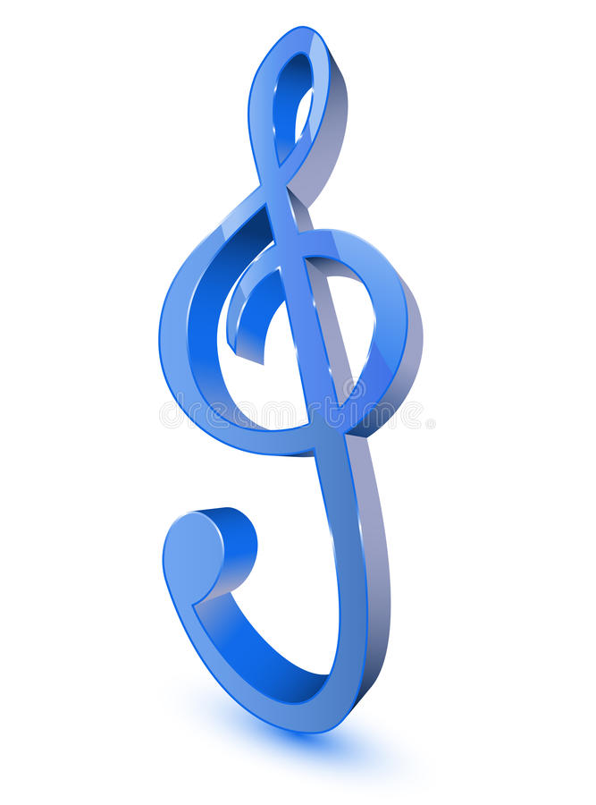 Blue Treble Clef Symbol Stock Photo