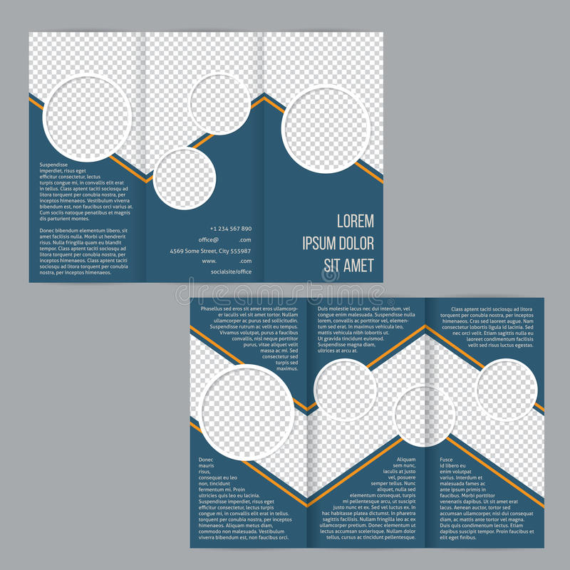 Blue tri-fold flyer brochure template vector illustration