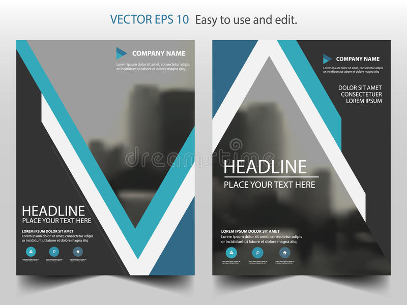 Blue triangle business Brochure Leaflet Flyer annual report template design, book cover layout design, abstract presentation. Blue triangle business Brochure royalty free illustration