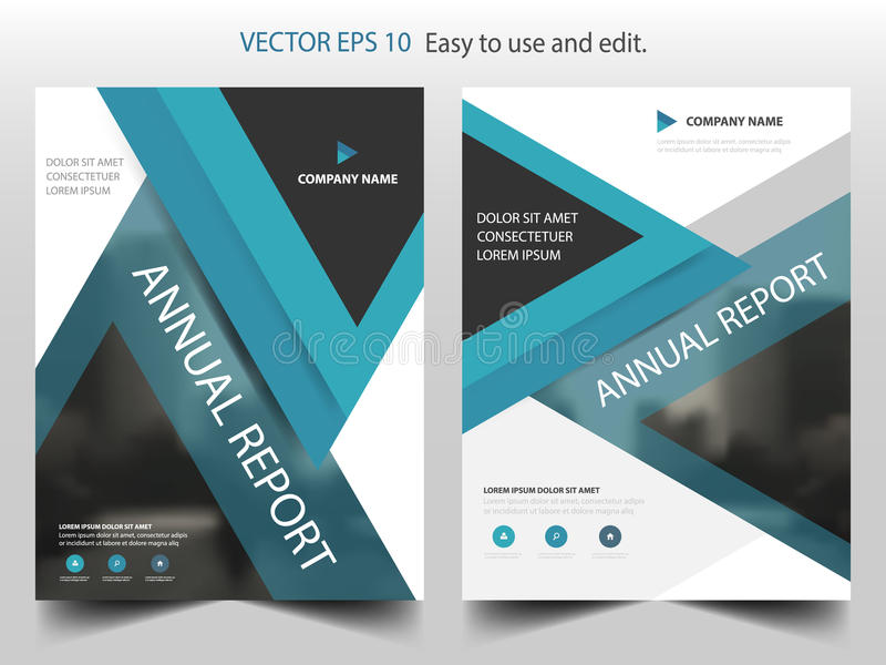 Blue triangle business Brochure Leaflet Flyer annual report template design, book cover layout design, abstract presentation. Blue triangle business Brochure vector illustration