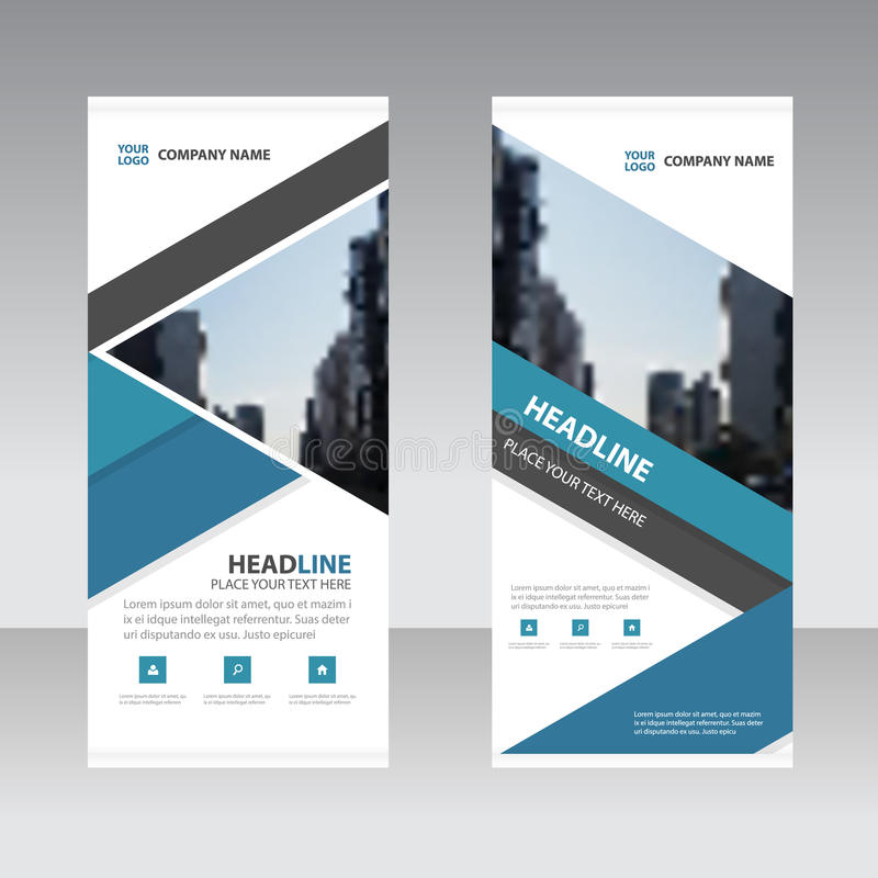 Blue triangle Business Roll Up Banner flat design template , Abstract Geometric banner template Vector illustration set. Abstract presentation template stock illustration