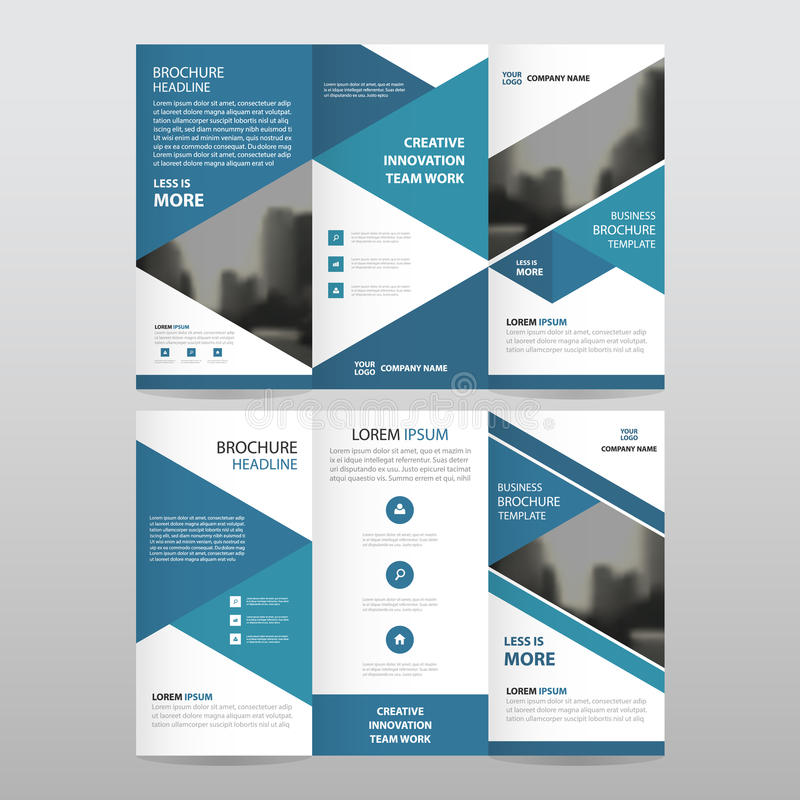 Blue triangle business trifold Leaflet Brochure Flyer report template vector minimal flat design set, abstract three fold stock illustration