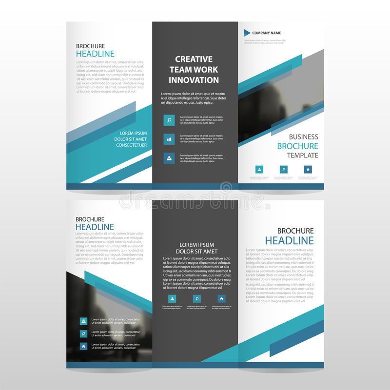 Blue triangle business trifold Leaflet Brochure Flyer report template vector minimal flat design set, abstract three fold royalty free illustration