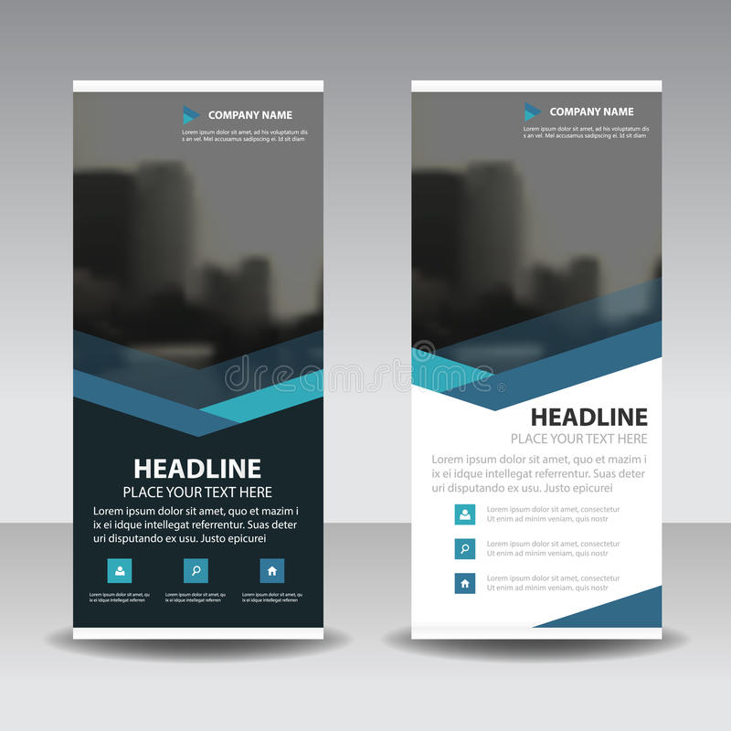 Blue triangle roll up business brochure flyer banner design , cover presentation abstract geometric background, modern publication. X-banner and flag-banner