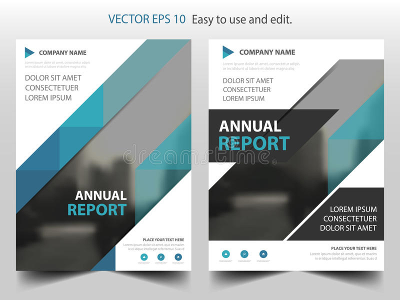 Blue triangle Vector Brochure annual report Leaflet Flyer template design, book cover layout design, business presentation. Blue triangle Vector Brochure annual vector illustration
