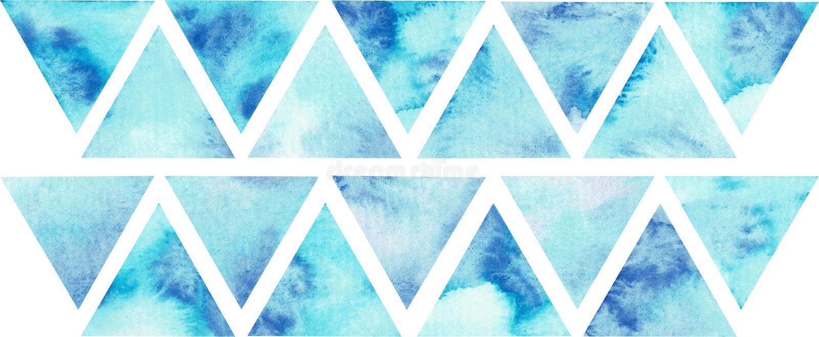 Blue triangles composition, watercolor background. Abstract hand-drawn illustration. Watercolor composition for scrapbook elements with empty space for text royalty free stock photos