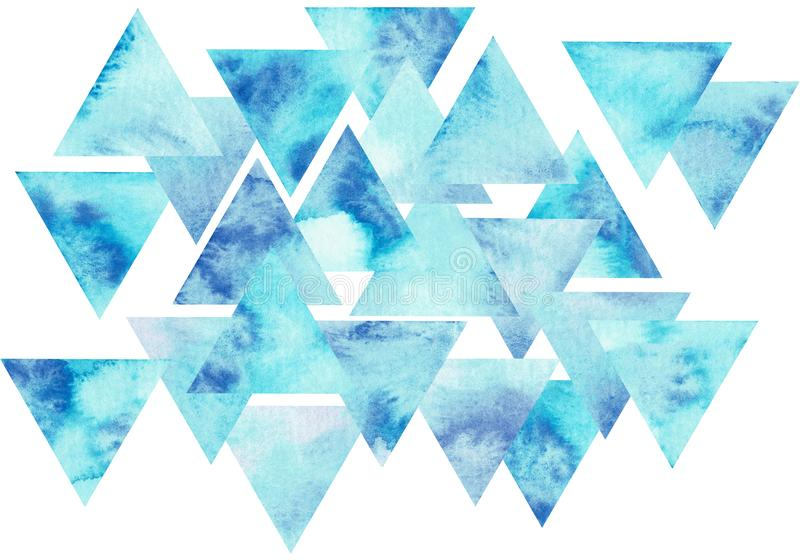 Blue triangles composition, watercolor background. Abstract hand-drawn illustration. Watercolor composition for scrapbook elements with empty space for text royalty free illustration