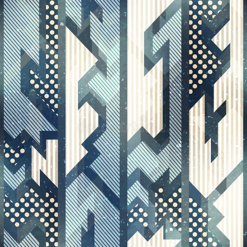 Blue tribel seamless pattern. royalty free illustration