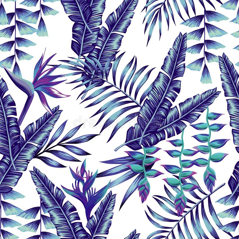 Blue Tropical Flowers And Palm Leaves Seamless Background