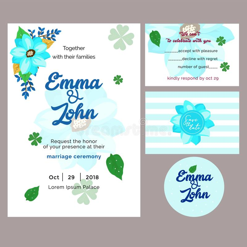 Blue tropical invitation marriage template stock image