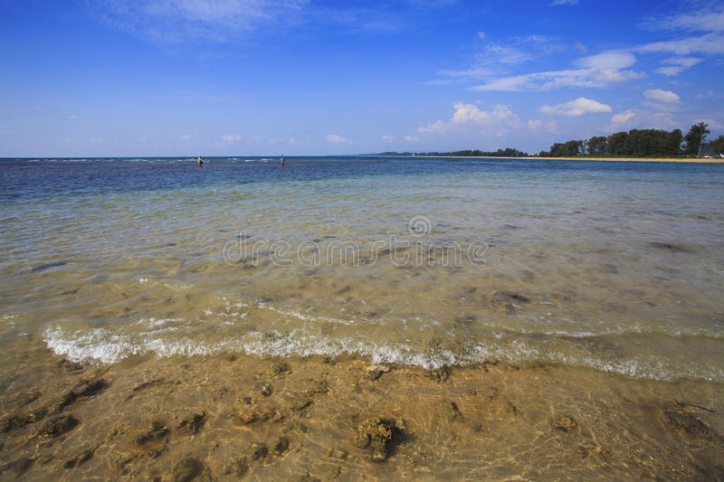 Blue tropical water around coral reef royalty free stock photos