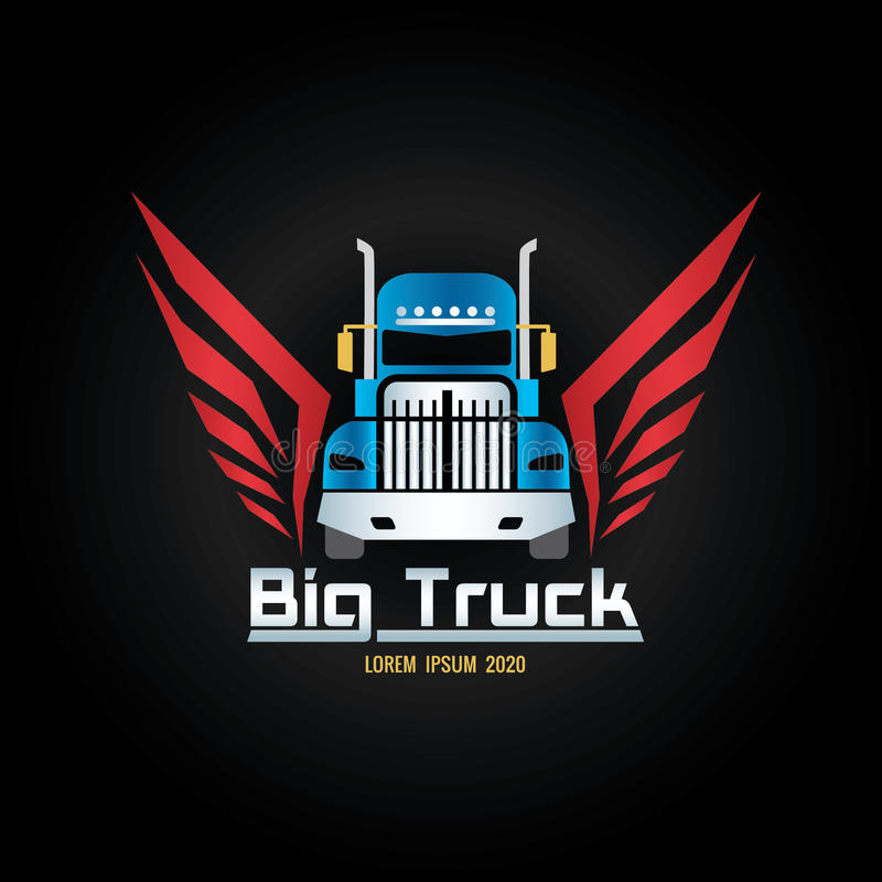 Blue truck and red wigs logo screen royalty free illustration