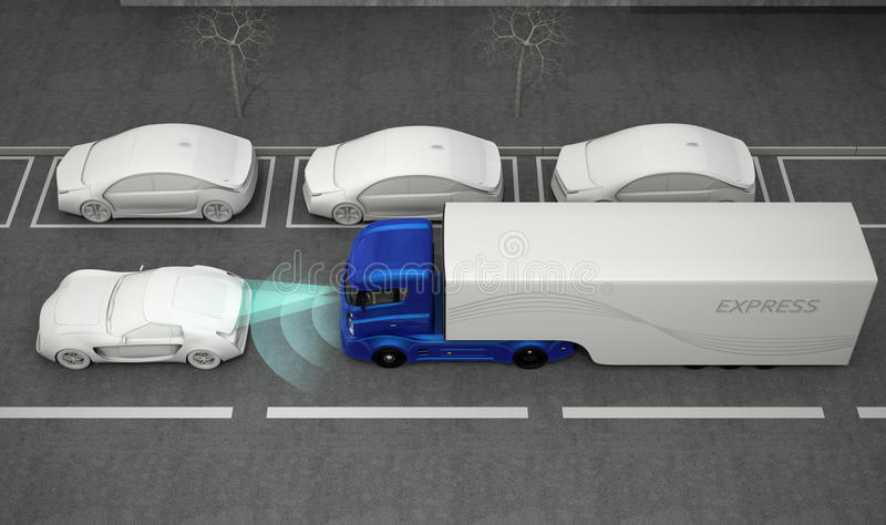 Blue truck stopped by automatic braking system. 3D rendering image royalty free illustration