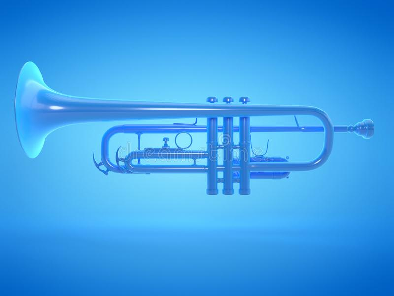 A blue trumpet. 3d rendered illustration of a blue trumpet royalty free illustration
