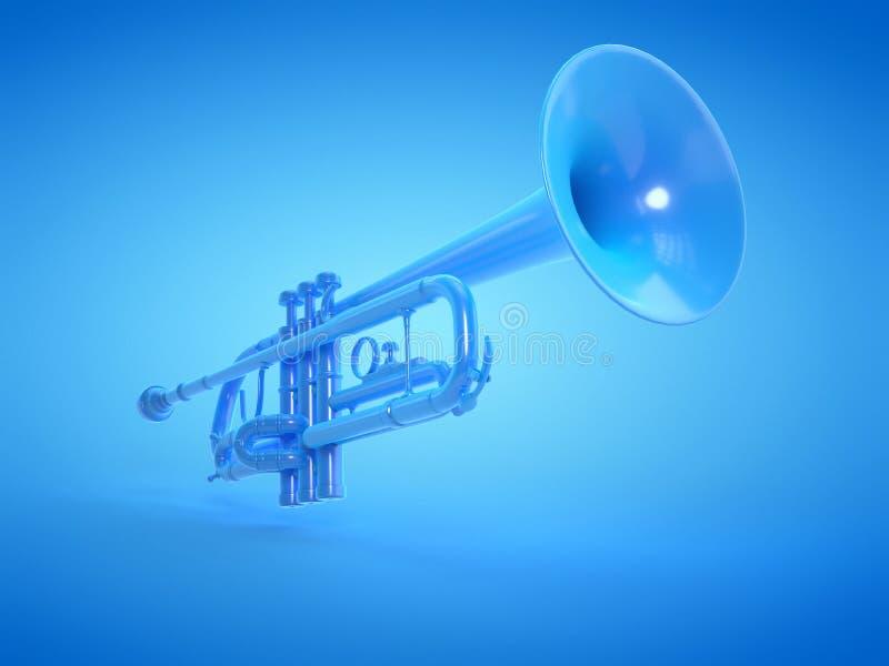 A blue trumpet. 3d rendered illustration of a blue trumpet vector illustration