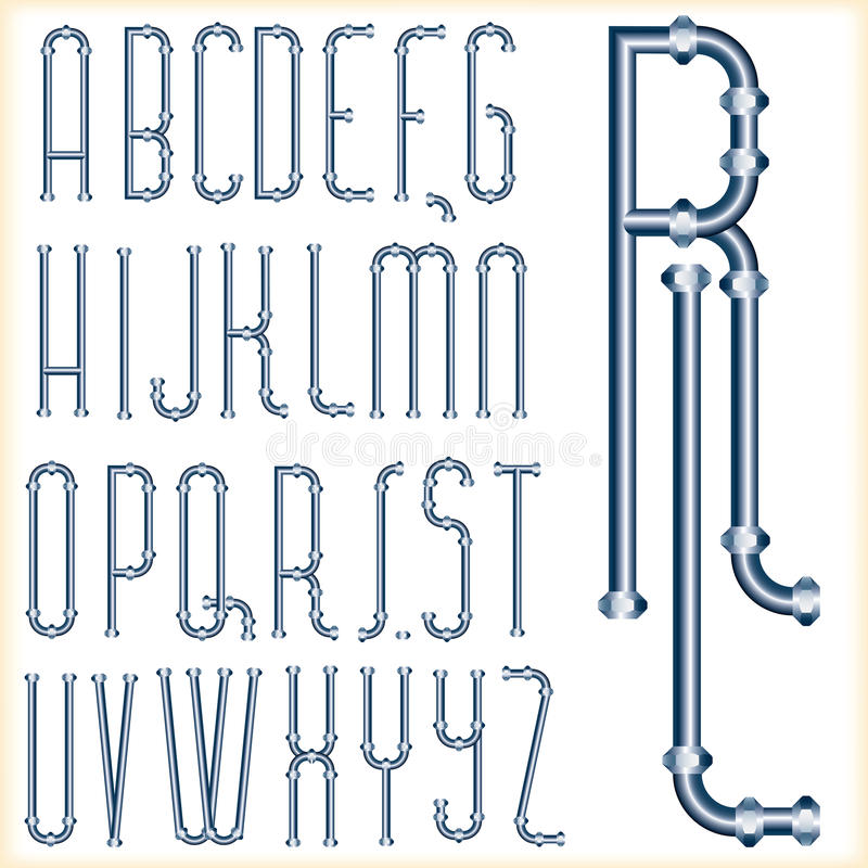 Blue tube font. Original font with blue pipes royalty free illustration