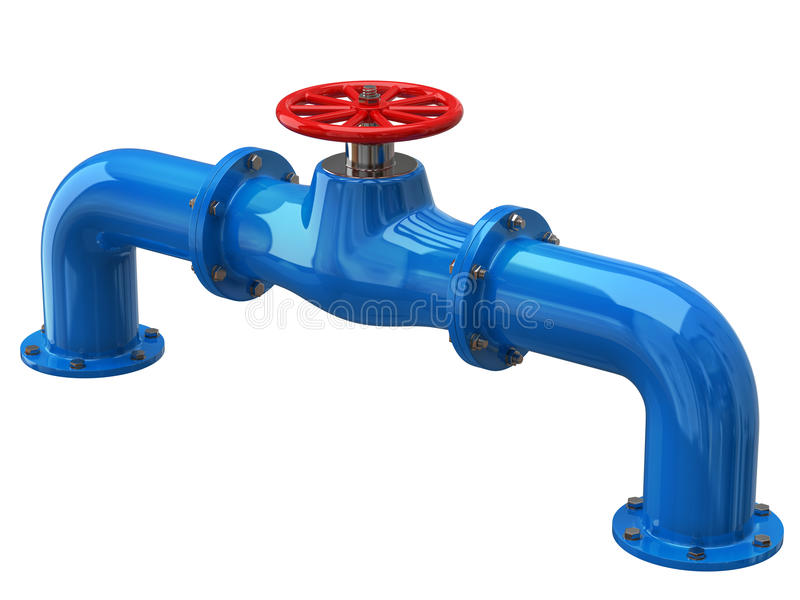 Blue tube with red valves vector illustration