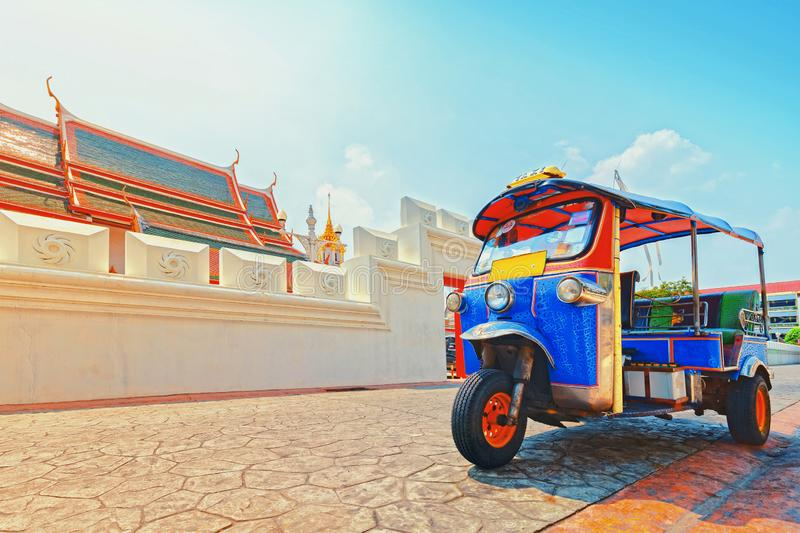 Blue Tuk Tuk, Thai traditional taxi in Bangkok Thailand. stock image
